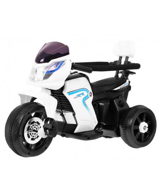 Elektrická motorka Bike Pusher s vodiacou tyčou biela